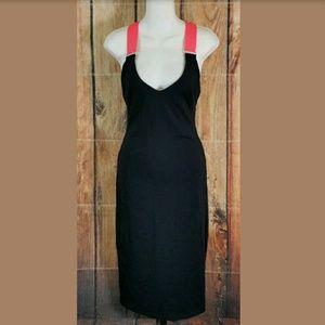 Bebe Black Bandage Maxi Dress Size Small Neon Pink